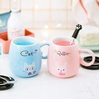 Cute cartoon animal ceramic mug Pretty cat rabbit color girl child milk mug gift