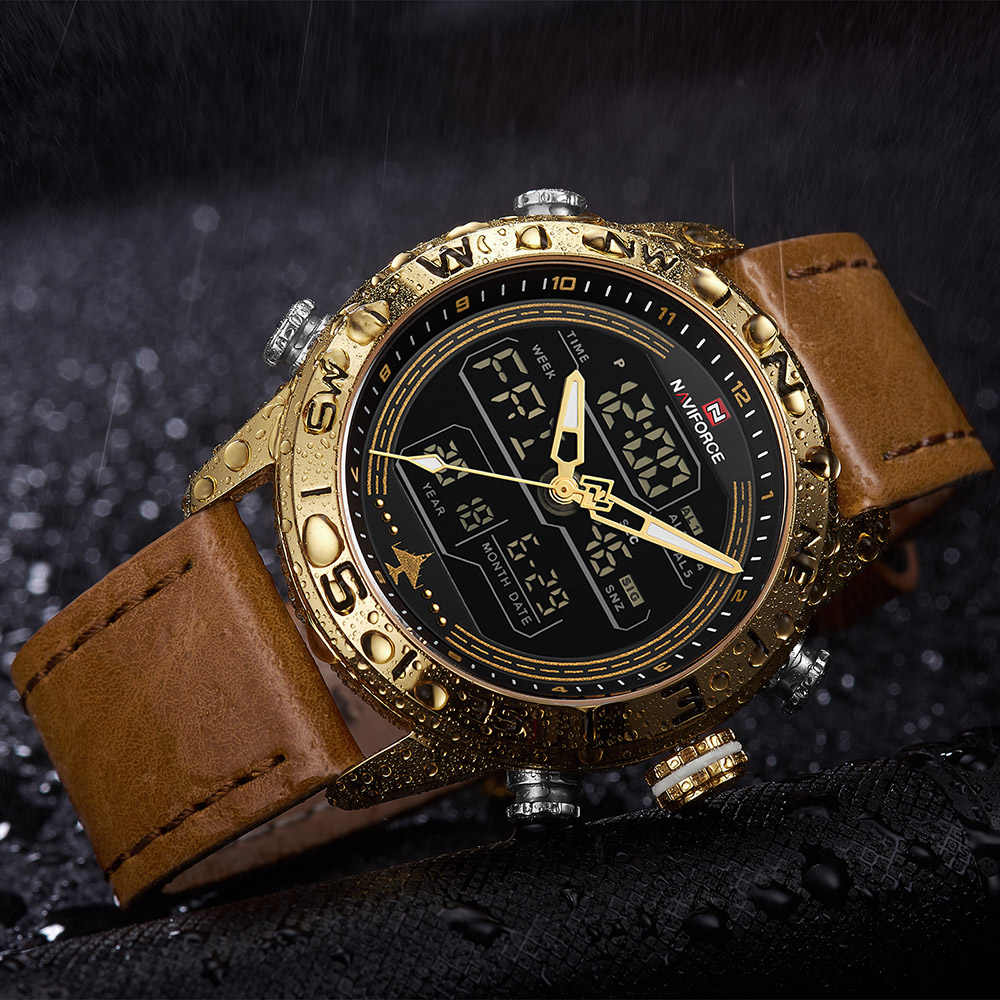 NAVIFORCE 9144 модные золотые мужские спортивные часы мужские s светодиодный аналоговые цифровые часы армейские военные кожаные кварцевые часы Relogio Masculino