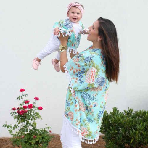 2018 Для женщин дочь Цветочный Пляж шаль кимоно Семейные комплекты кардиган бохо Топы Куртка блузка Канис