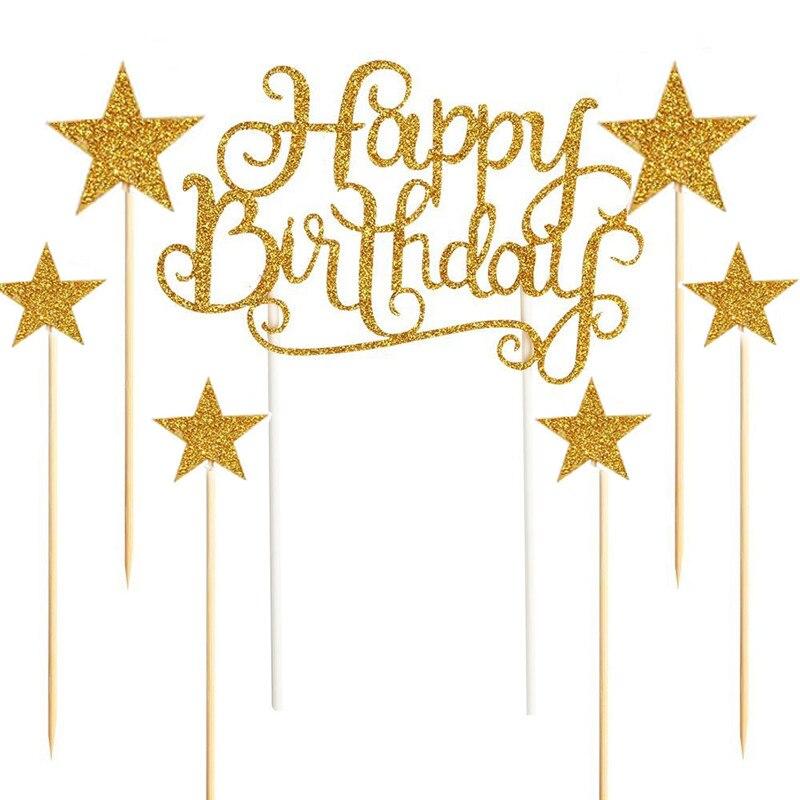 Omilut 7pcs Gold Glitter Birthday Party Cake Decor Gold/Silver Stars topper Baby Shower Girl/Boy Wedding Decoration