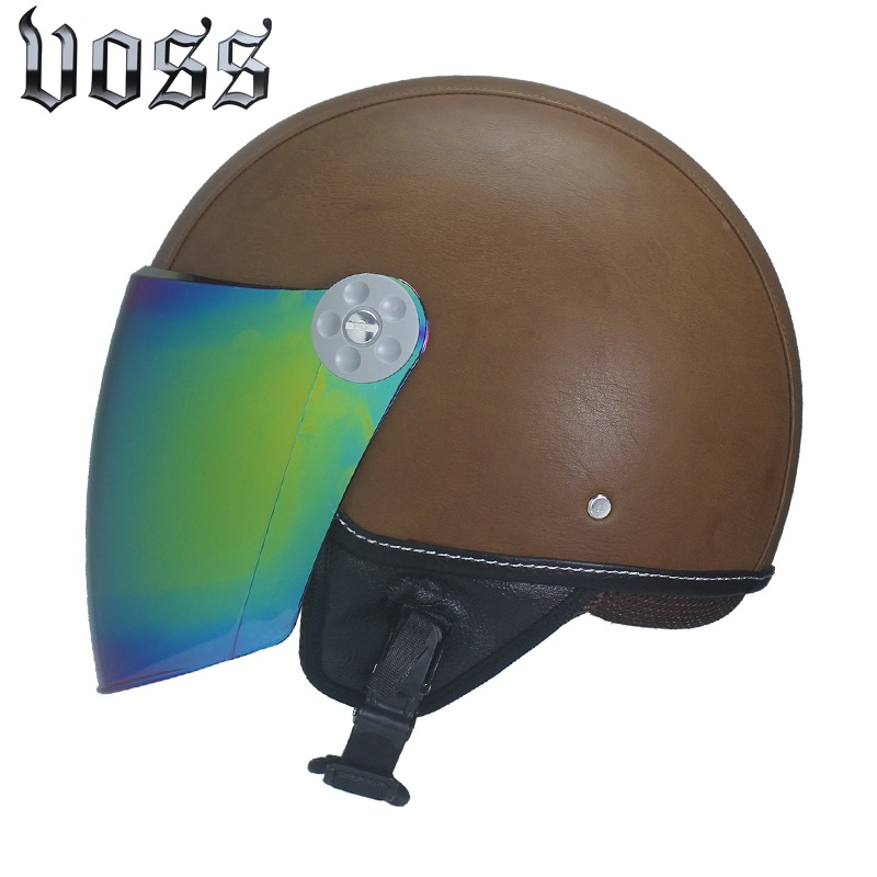 High quality adult leather motorcycle Harley helmet retro half cruise helmet Prince motorcycle helmet with clear lens DOT