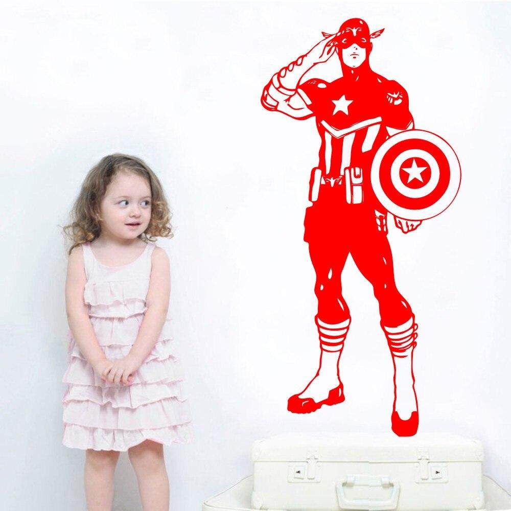 Personalised Captain America Wall Vinyl Sticker Super hero Superhero Comic Decal