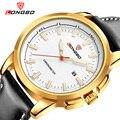 Homem De Quartzo relógios de Pulso pulseira de couro preto ouro dial Negócios LONGBO Relógios para homens boy masculino relógio à prova d' água saatleri erkek