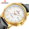 LONGBO Man Quartz Wristwatches black leather strap golden dial Business Watches for men boy male clock waterproof erkek saatleri