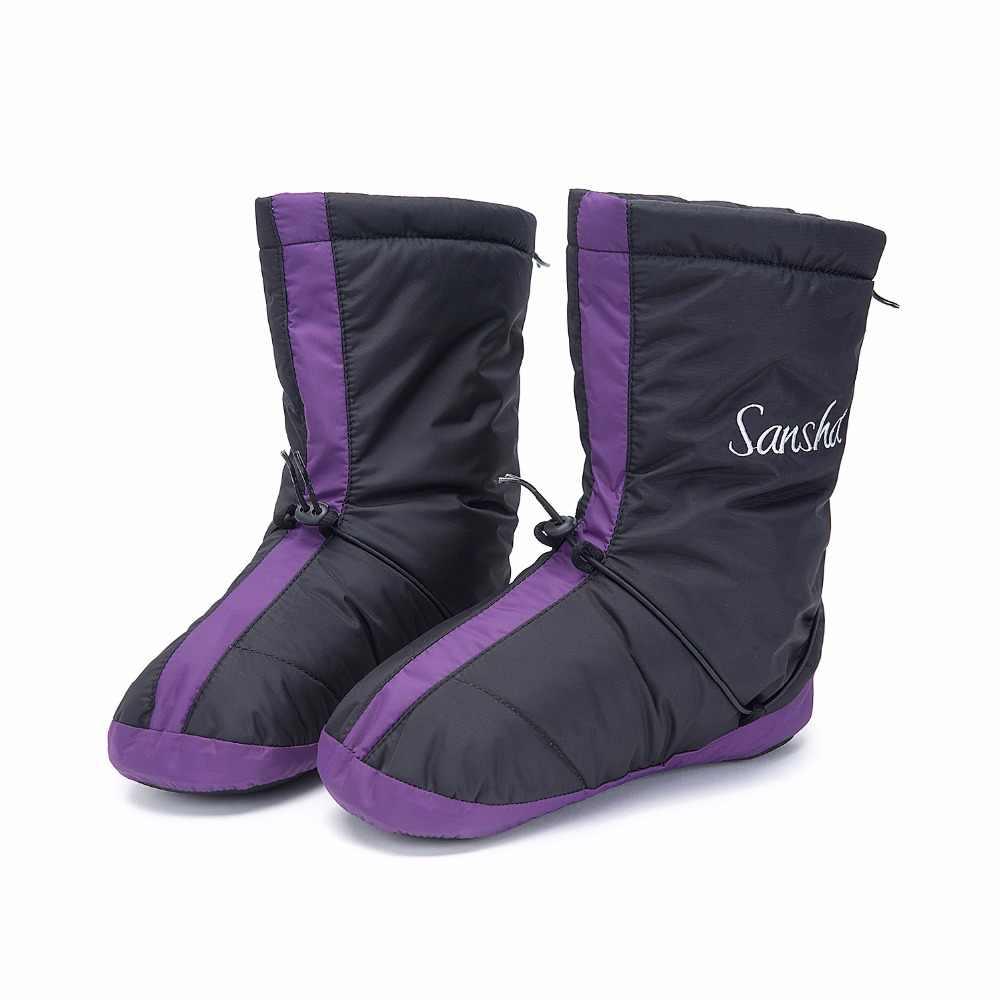 Sansha ผู้หญิงบัลเล่ต์อุ่นรองเท้าบู๊ท Vamp กันน้ำด้านบนหนังนิ่ม Anti Skid เต้นรำในร่มอบอุ่น up รองเท้าแตะ WOOZ3N