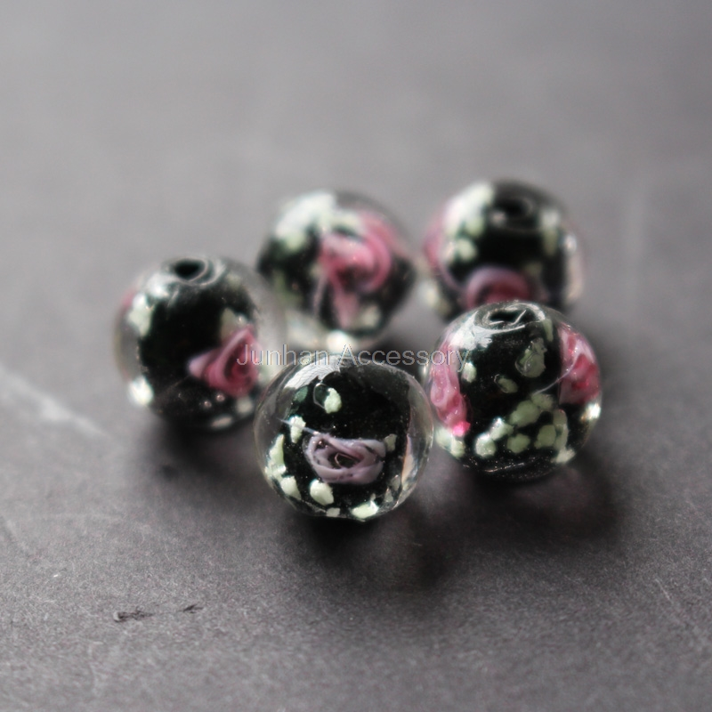 20Pieces/Lot 8mm 10mm Luminous Lampwork Glass Beads Flower Beads Black Color Jewelry Making