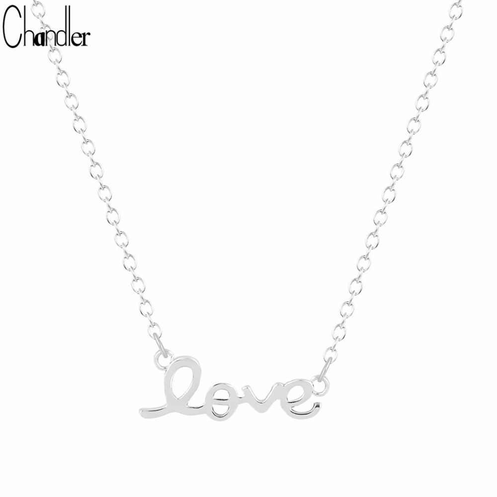 Chandler argent plaque couleur or courant amour lettre pendentif collier pour femmes coeur couple infini Colar petite amie cadeau 10 pc