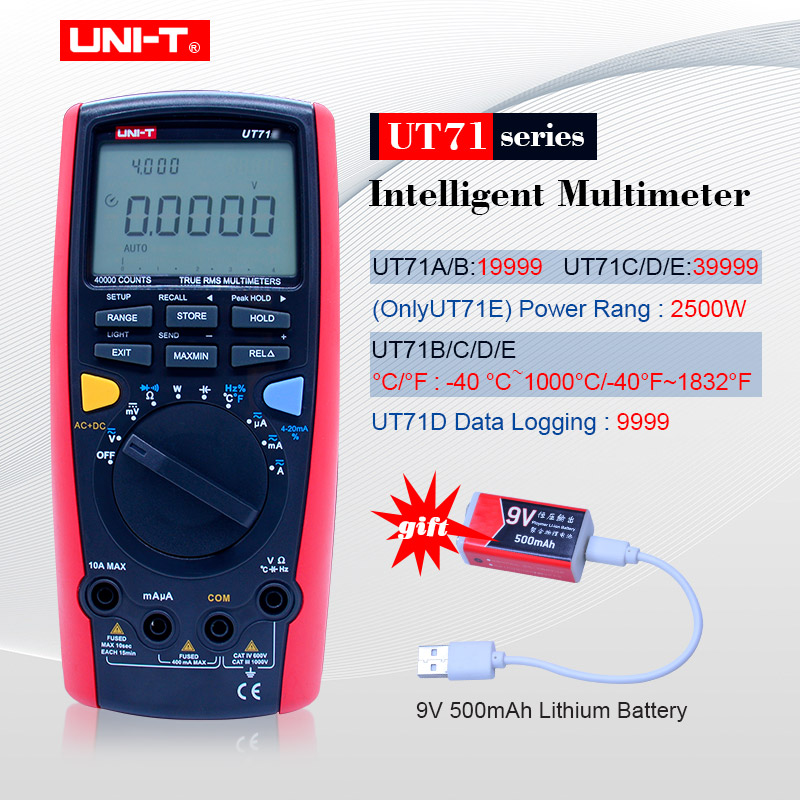 UNI-T UT71 Series Digital MultiMeter Ture RMS AC DC meter Volt Ampere Ohm Capacitance Temp tester 40000 counts 0.025% accuracy utd04 usb data cable for digital multimeter ut71 ut61 series black 136cm