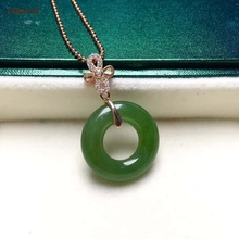 Certified Natural Hetian Jasper Inlaid 925 Sterling Silver Lucky Peace Buckle Jade Pendant Ice Green High Quality Best Gifts