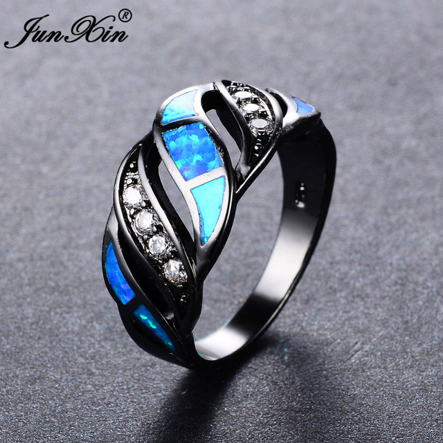 JUNXIN Women Men Ocean Blue Fire Opal Ring Black Gold