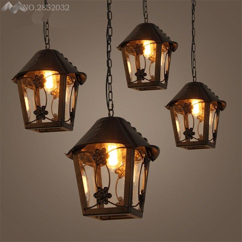 American Retro Simple Creative Pendant Lights Loft Industrial Wind Glass Iron Pendant Lamps Cafe Bar Restaurant Indoor Lighting
