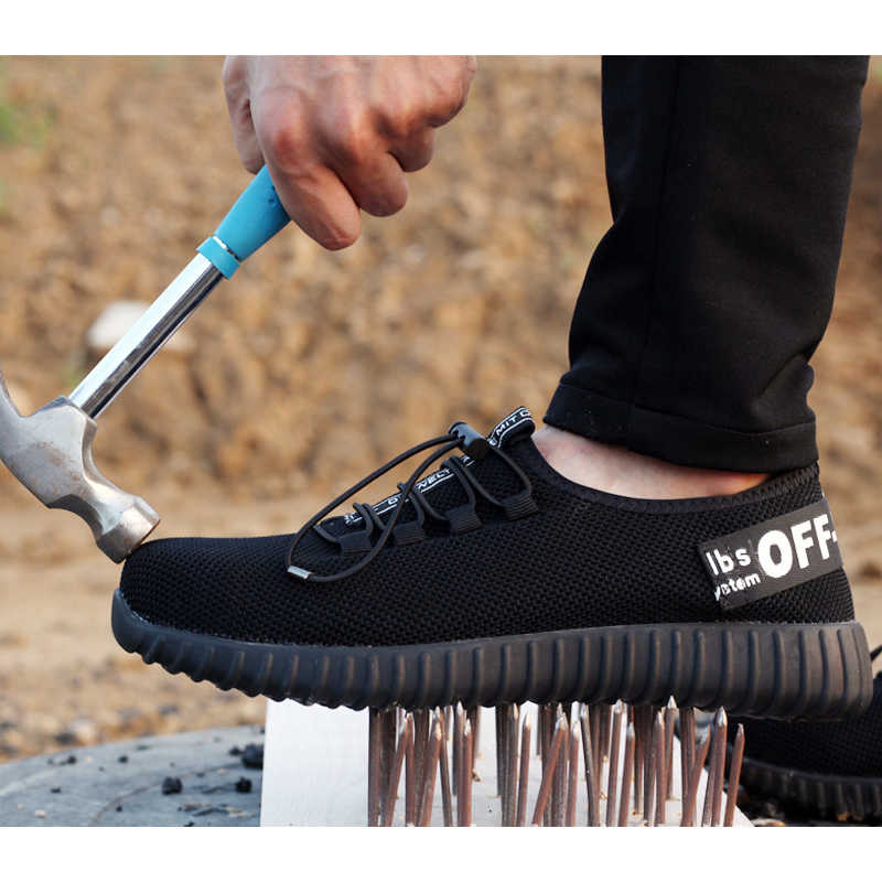 Degli uomini di Estate Traspirante Puntale In Acciaio Anti-smashing Scarpe Da Lavoro Da Uomo Puntura di Sicurezza A Prova di Scarpe Maglia
