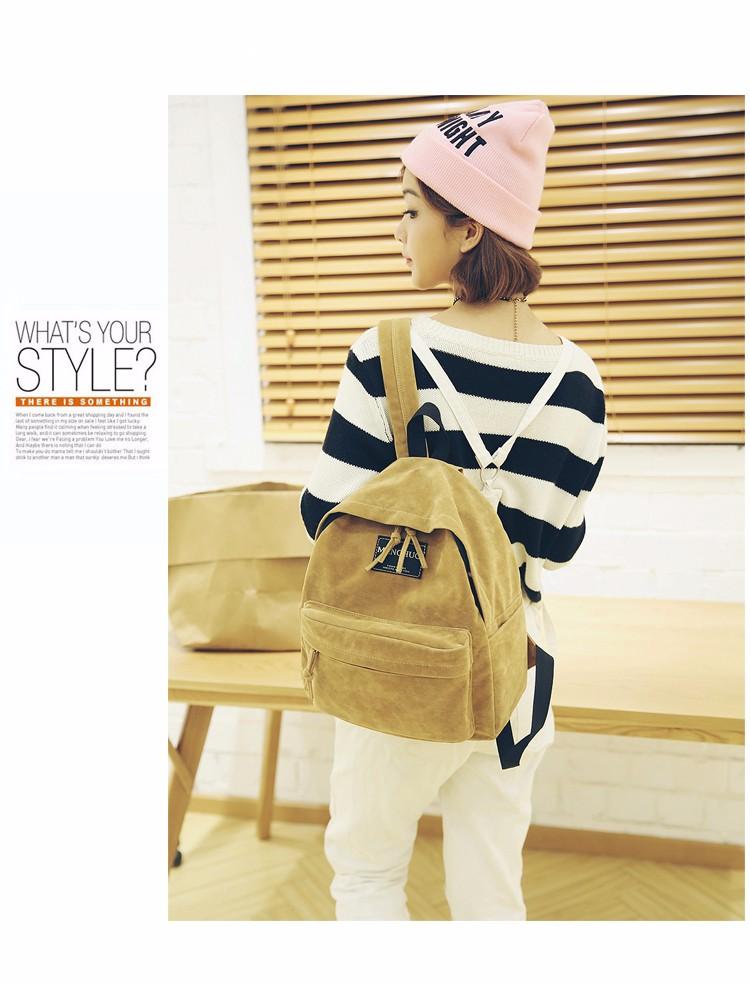 2016 New Women Backpack Preppy Style Suede Backpacks Teenage Girls School Bags Vintage Rivet Travel Backpack Burgundy Gray Black (36)