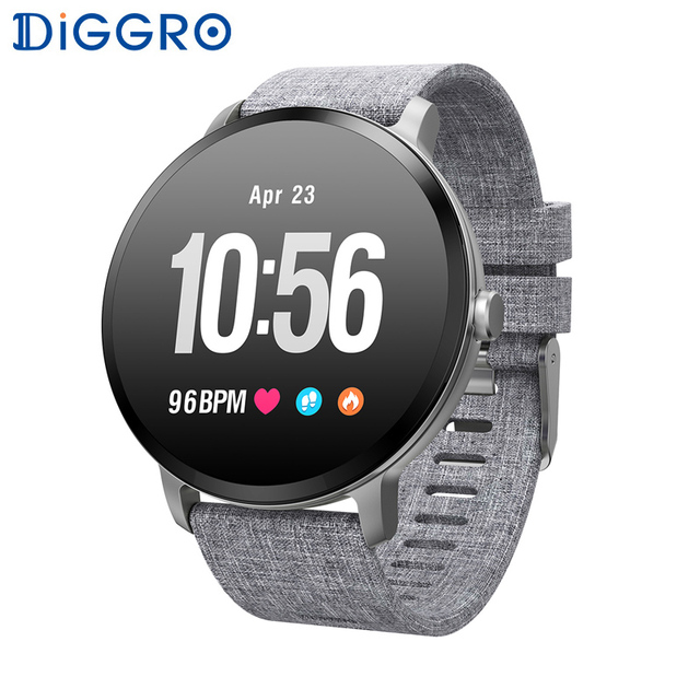 Diggro V11 Smart watch Activity Fitness tracker IP67 waterproof Heart rate monitor Tempered glass Men women smartwatch PK Q8