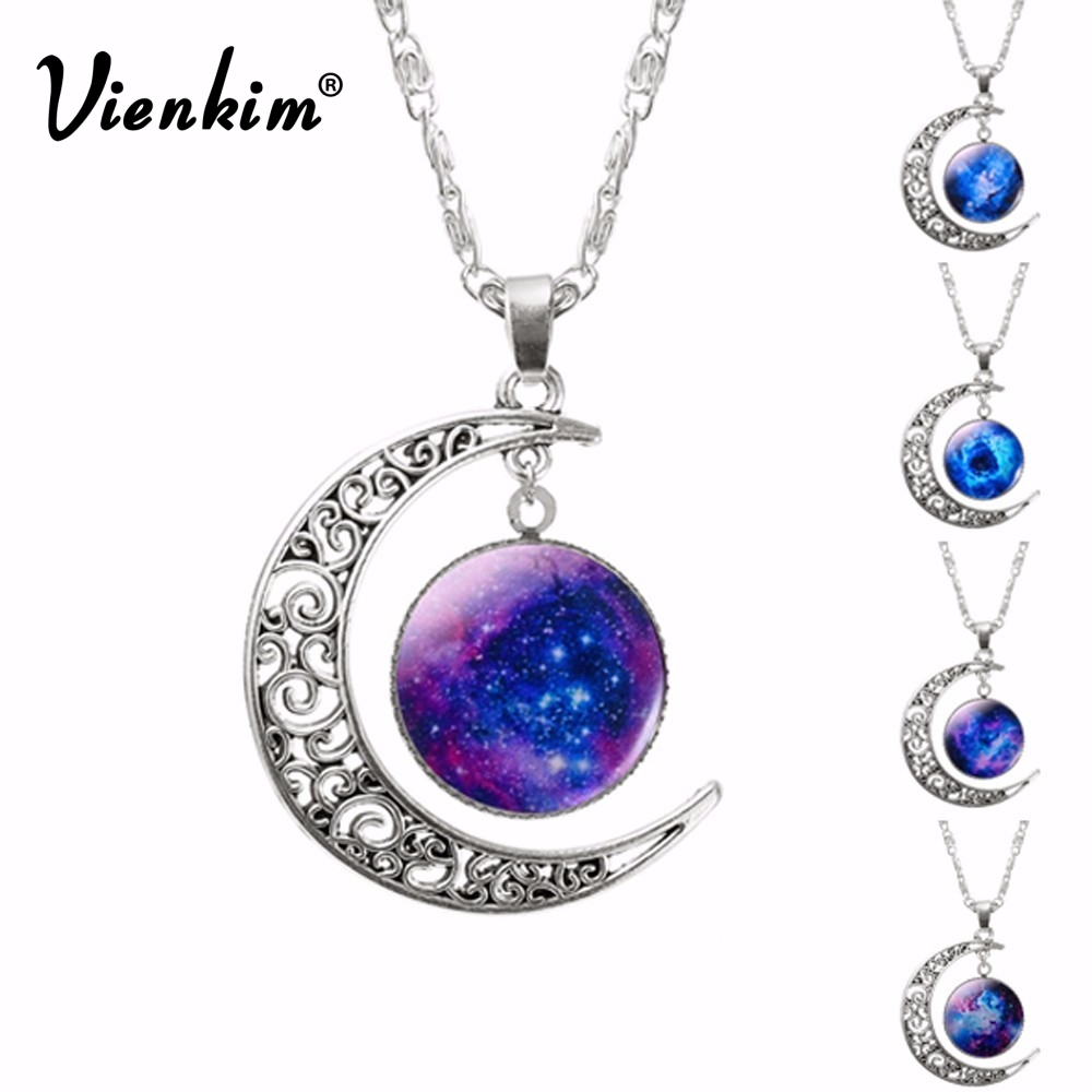 Vienkim Hollow Moon & Glass Galaxy Statement Necklaces Silver Chain Pendants 2018 New Fashion Jewelry Collares Friend Best Gifts