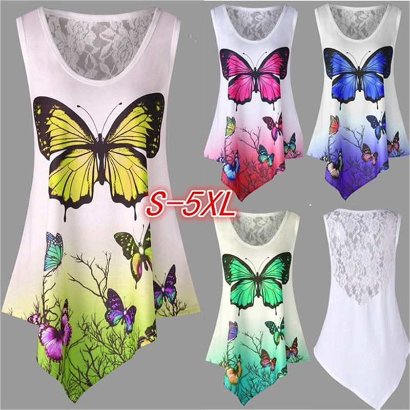 5XL Large Size 2018 New Summer Sexy O-Neck Feather Butterfly Print T shirts Casual Sweet Cute Lace Patchwork Womens T Shirt Tops