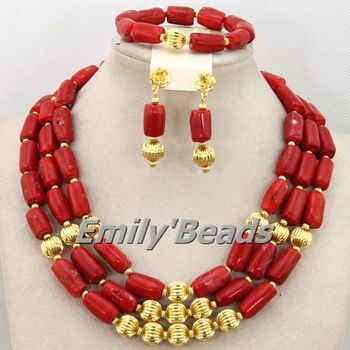 Nigerian Wedding Coral African Beads Necklace Jewelry Set Red Costume African Bridal Jewelry Set Wholesale Free Shipping CJ392