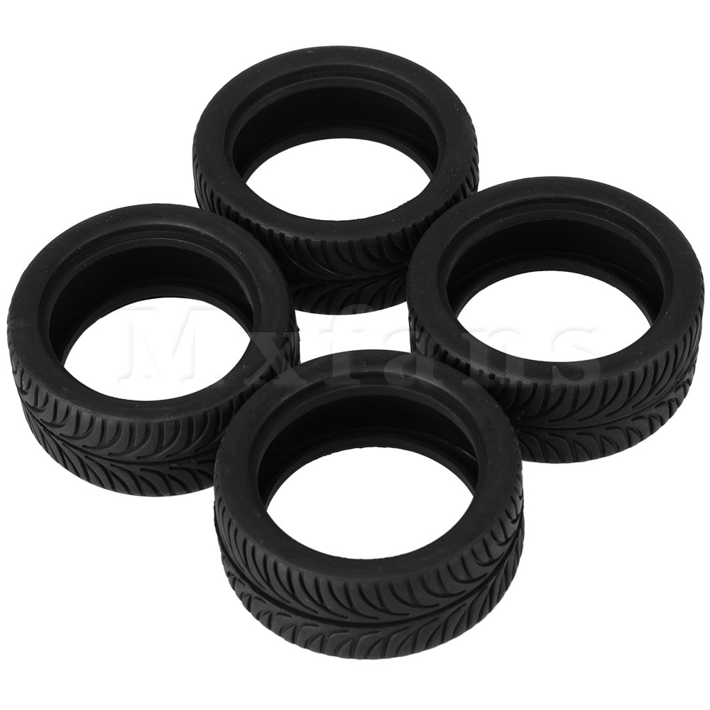 Mxfans 4x Leaves Pattern RC Racing Rubber Tires for 1:10 On-Road Racing Car Durable