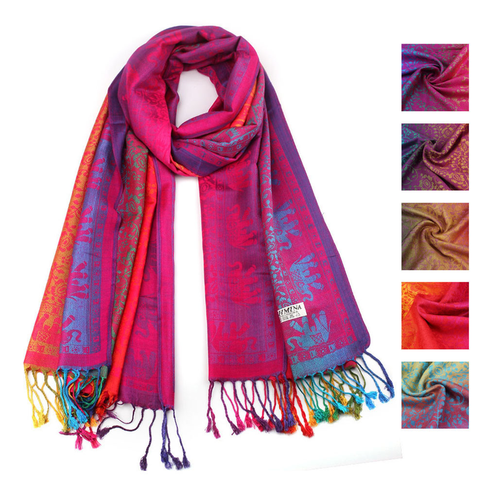 Ethnic Style Scarf Women Hijab Scarf Spring Autumn Double Sided National Wind Wrap Shawl Long Soft Foulard Femme#30