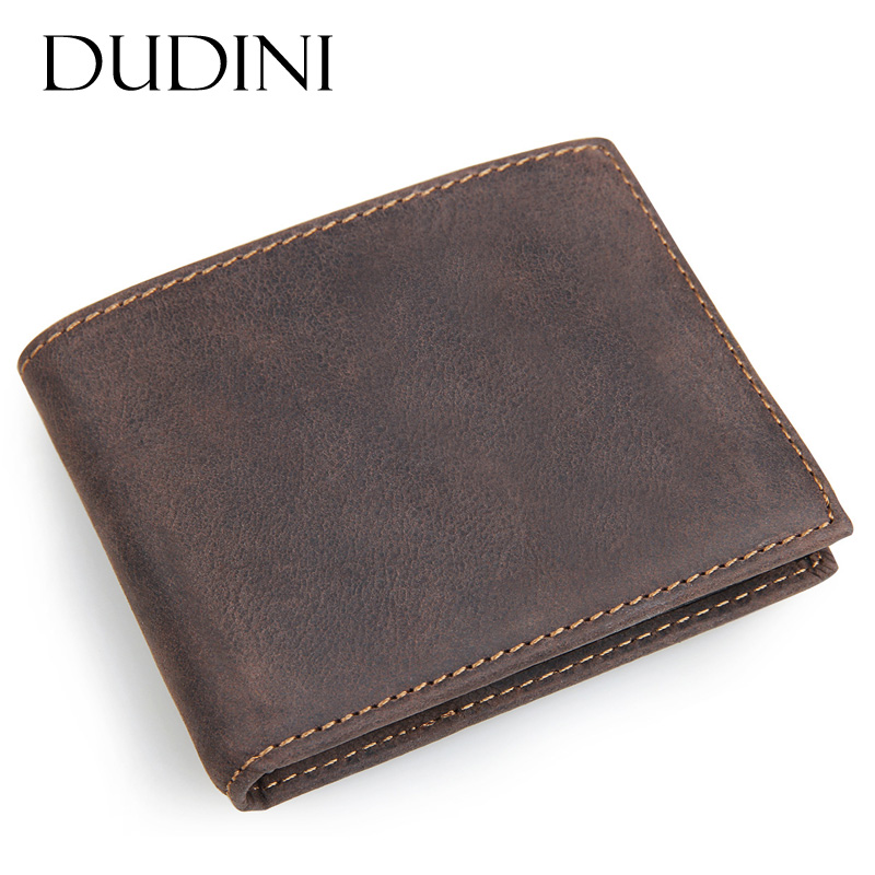 [DUDINI] Men Crazy Horse Leather Short Wallets Dollar Price Carteira Masculina Money Purse Wallet Short Card Holder Purse Cion luxury brand men wallets short dollar price money bag male clutch leather wallet carteira masculina mens purse wallet