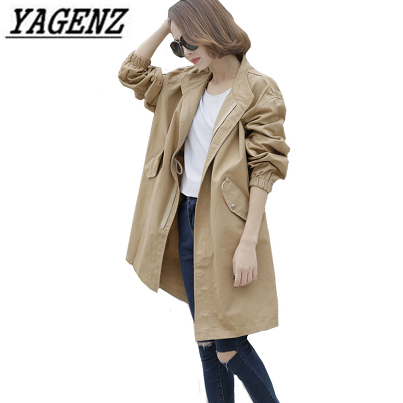 Coats Windbreaker Trench Female Autumn Korean Fashion Women's Long-Sleeved Casual And