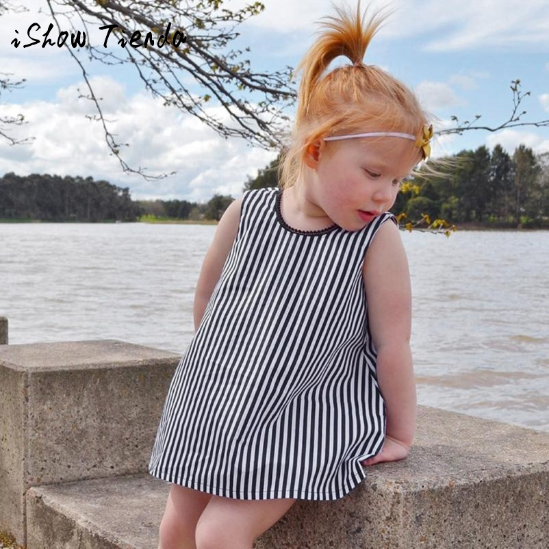 ISHOWTIENDA Summer dress tulle dress first birthday outfit girls Bowk striped baby girls dresses baby party dress vestido 1 ano