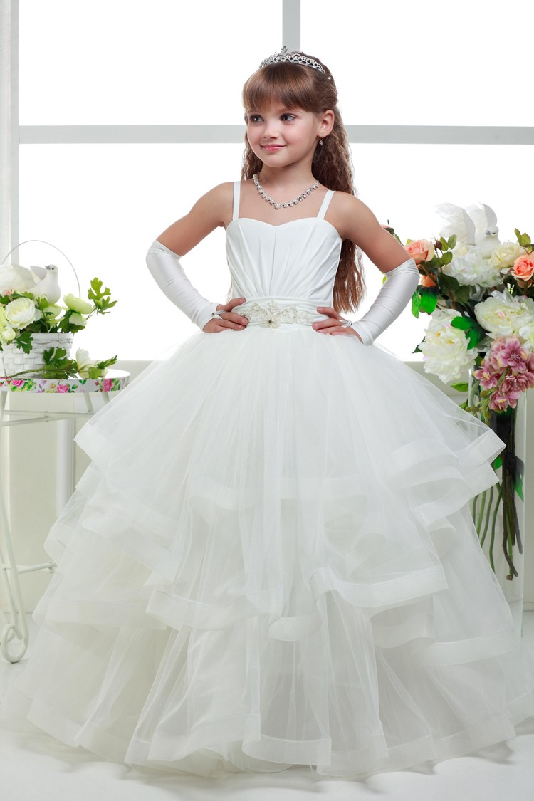 Ball Gown Flower Girl Dresses White Real Party Prom Dresses Little Girls Kids/Children Dress for Wedding Mother Daughter Dresses girl s formal dress 2018 flower girls wedding dresses kids gauze sequins party ball gown children s long prom dress white 3 13y