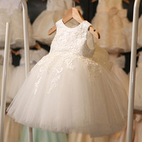 דפוס קשת רשמיים יילוד תינוק שמלת הכלה ילדה אופנה לפעוטות 1-8Y פעוטות מסיבת יום הולדת בגדי שמלת טבילת בציר