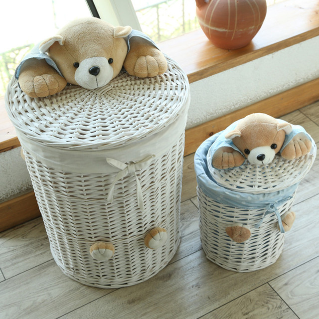 Woven Wicker Baskets Round Laundry Hamper Sorter Storage Basket With Bear Head Lid Small Large