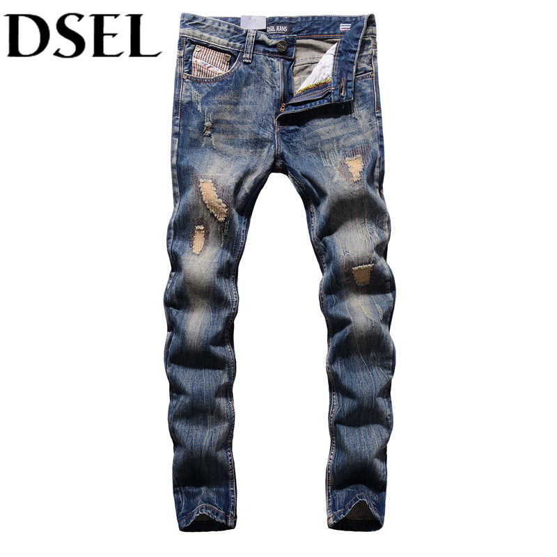 Retro Designer Men Jeans European American Street Man Clothing Stripe Jeans Mens Pants DSEL Brand Destroyed Ripped Jeans Men
