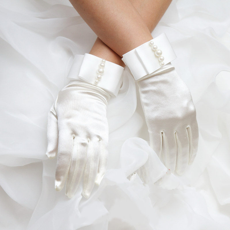 Pearl Wedding Bridal Gloves with Bow Ivory Cheap High Quality Wrist Length Have Finger New Style