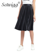SETWIGG Autumn Faux Leather A-line Pleated Below Knee Skirts Stretch Waist Synthetic Black PU Leather Midi Skirt SG05