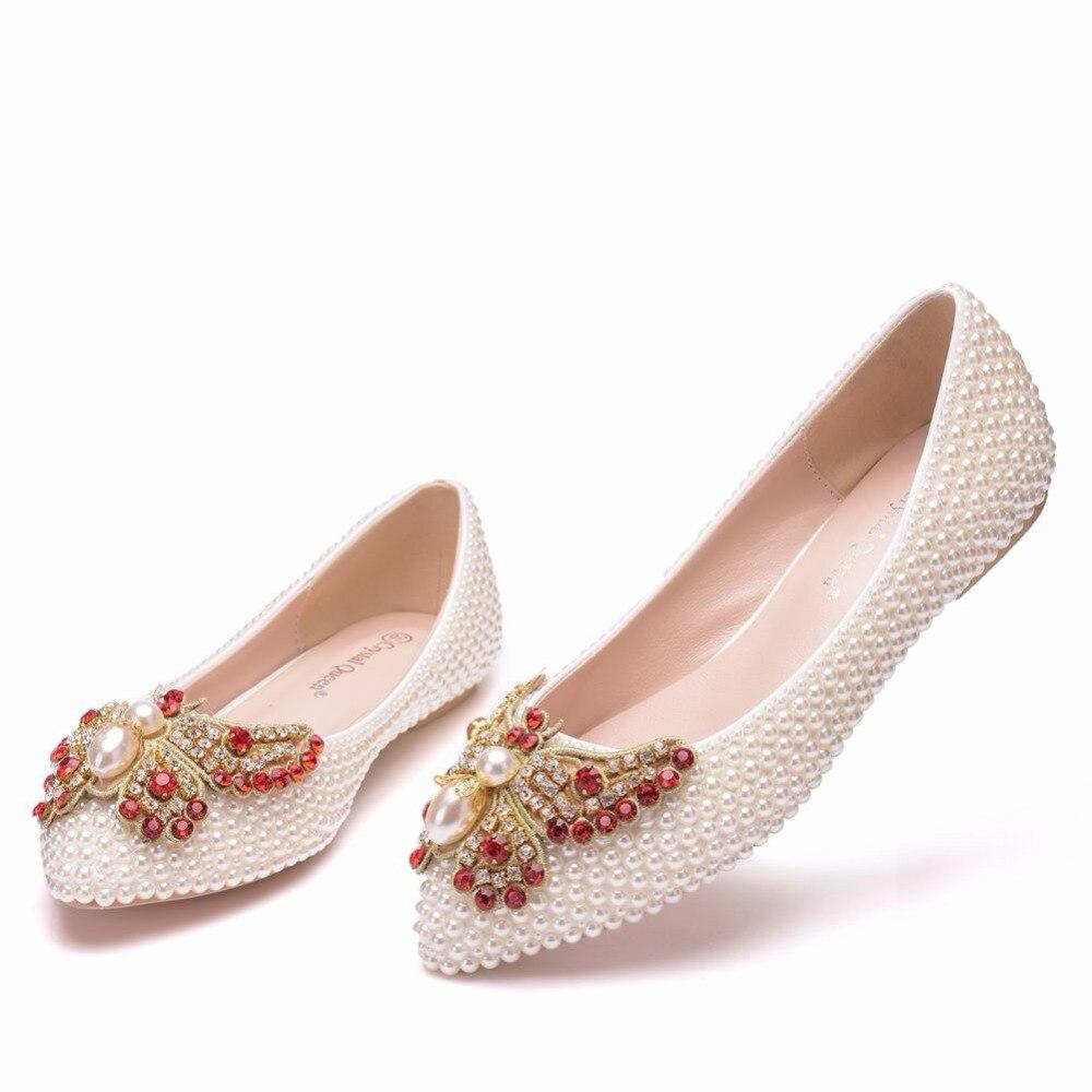 Appartements Pointu Mariage La Cristal Reine Ballet Chaussures Perles Plat Bout white De Taille Plein Beige Blanc Plus Mariée qwnYIFH