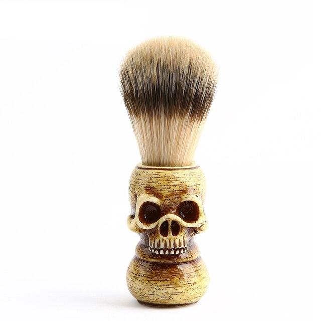new men shaving brush resin skull head badger beard brush skeleton