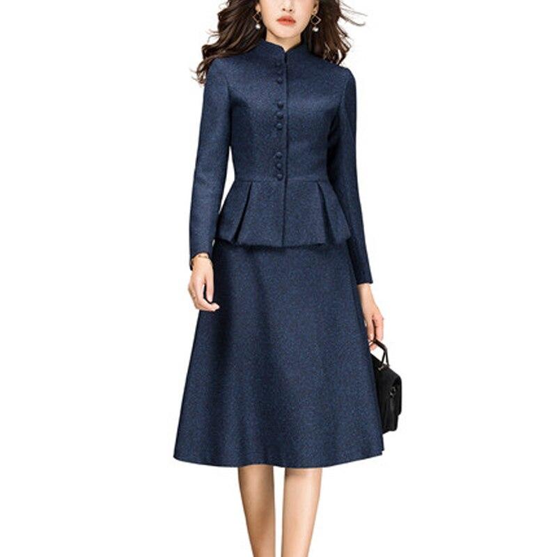 2 piece outfits for women 2020 Fashion Autumn Winter Two Piece Set ELegant Office Lady Suit Plus Size 3XL casaco feminino LX439
