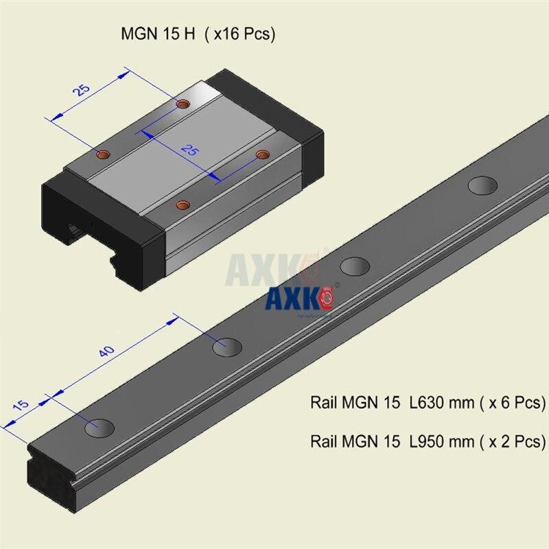 AXK MGN15 Linear Rail 15mm (6pcs Mgn15 L=630mm+Mgn15H 12pcs )+(2pcs Mgn15 L= 950mm + Mgn15H 4pcs) total 8 pcs rail 16pcs guide free shipping to argentina 2 pcs hgr25 3000mm and hgw25c 4pcs hiwin from taiwan linear guide rail