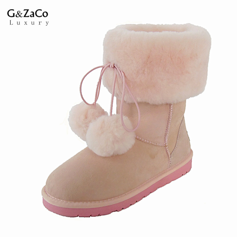 G&Zaco Luxury Winter Sheepskin Fur Snow Boots Inside Natural Wool  Genuine Leather Women's Boots Flat Middle Boot Female Shoes