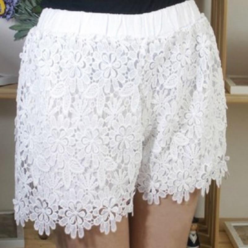 2018 Summer Fashion Women Shorts Sexy Cotton Lace Crochet Scalloped