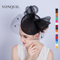 17 Colors Hair Accessories Elegant Lady Hair Fascinators Hats Hair Band Top Dot Net Mesh Veilling