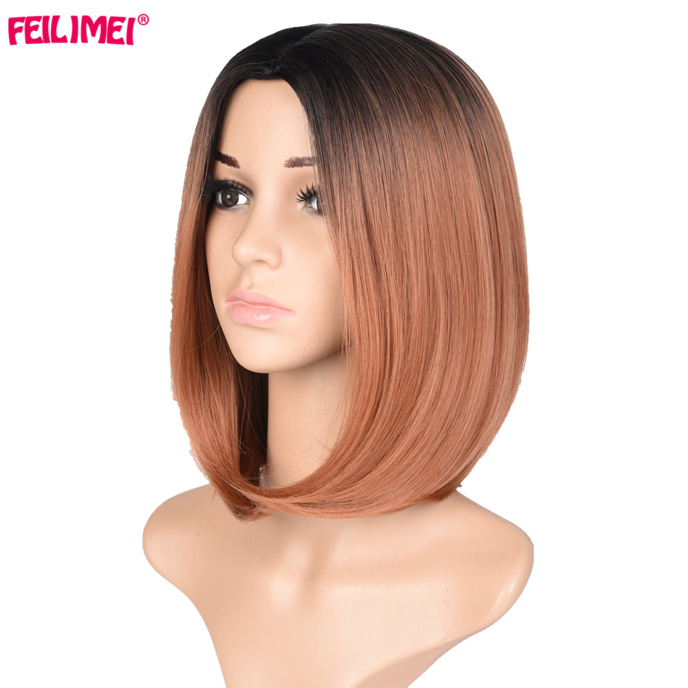 Feilimei Short Straight Bob Wig 160g African American Synthetic Kanekalon Hair Ombre Colored Cosplay Wigs