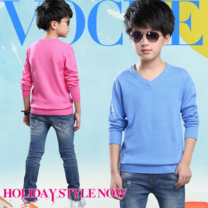 Image 2 - Fashion Boys Sweater Knitting Pattern Spring 2018 Children Pullovers Tops Cotton Kids Outerwear Clothes Pure Color Sweater 4 16Y