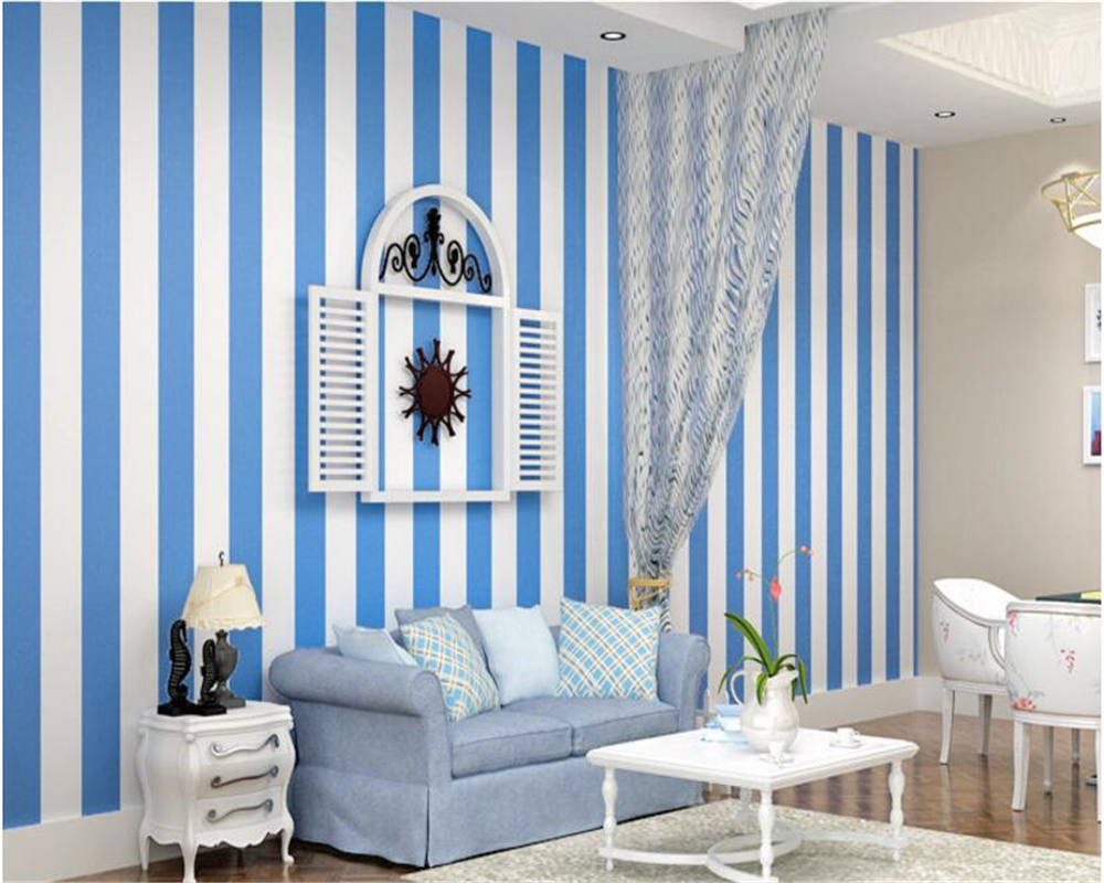 beibehang papel de parede Mediterranean stripe wall paper and black and white simple and non woven wallpaper wall 3d wallpaper beibehang classic feature solid wall paper plain stripe non woven home decor papel de parede 3d wallpaper roll for bedroom white
