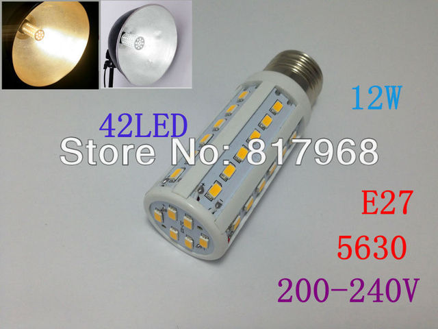 5630 42leds 200-240V/AC 12w 1260lm E27 corn bulb LED bulb CE&RoHS certificated free shipping