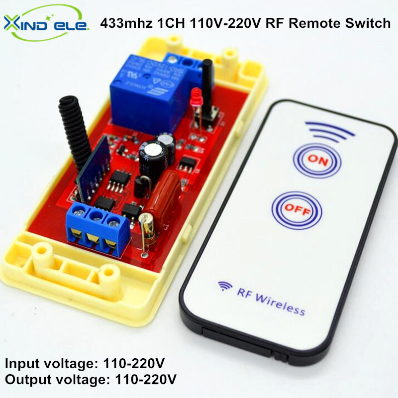 AC 110V 220V Output 1CH RF Universal Wireless Light Remote Control Switch Relay Receiver Module + 433mhz Transmitter for Door 2ch 5v wireless remote control light switch receiver relay module 433mhz rf on off switches for lamp light motor gaage door