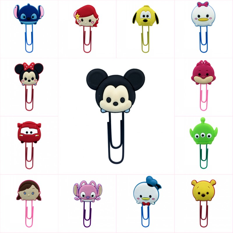8pcs Kawaii Cartoon PVC Bookmarks For Kids Paper Clip School Office Stationery Supplies Page Holder For Books Kid Gift