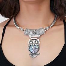 2016 New bijoux bohemia necklace Owl pendants statement choker za antique tribal ethnic boho Women jewelry