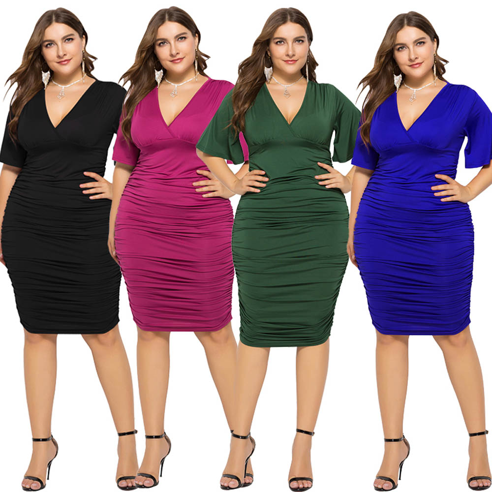 Plus Size Women Hot Pink Evening Party Dress Empire Waist Sexy V Cut Flare Sleeves Elegant Pleated Dress eDressU LMT FP1130 in Dresses from Women 39 s Clothing