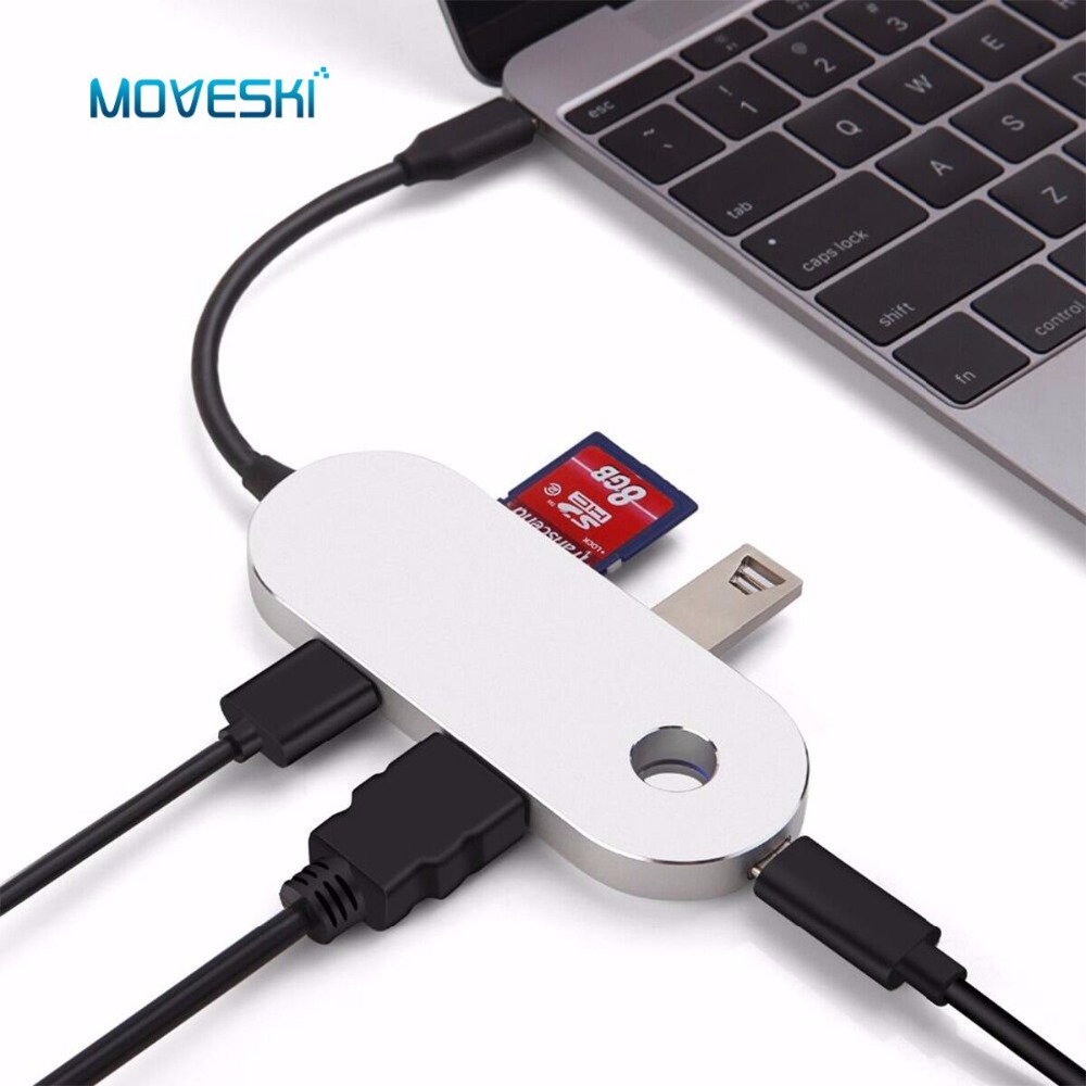 Moveski IHUB-21 USB C Hub Adapter Charger USB Charging Port HDMI Port 2 USB 3.0 Port SD & Micro SD Card Reader for MacBook Pro ...