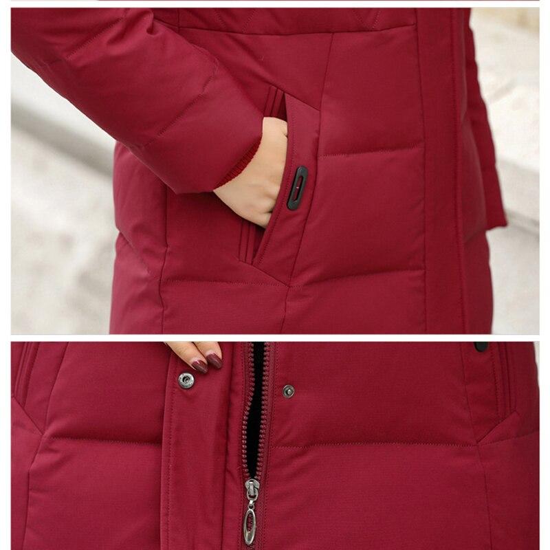 2019 новая зимняя куртка пуховик из белого утиного пуха Женская средней длины с капюшоном плюс размер куртка женская тонкая пуховая куртка из... - 6