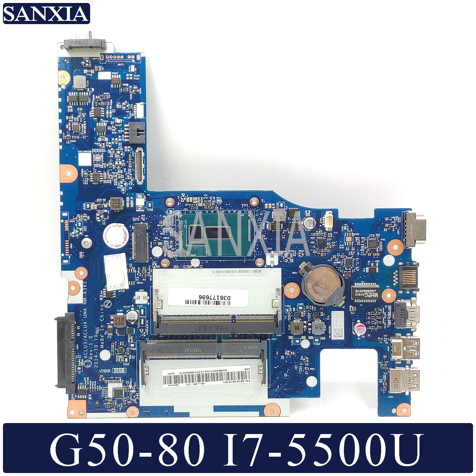 KEFU NM A362 Laptop motherboard for Lenovo G50 80 original mainboard I7 5500U